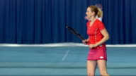 MS Female Tennis Player Hitting The Ball video