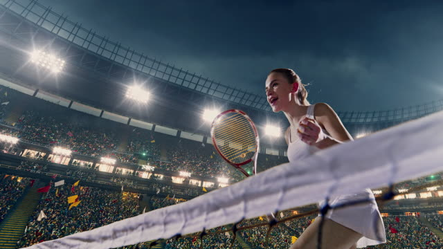 Female tennis player in action during game video