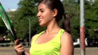 Female Tennis Player With Tennis Racket video