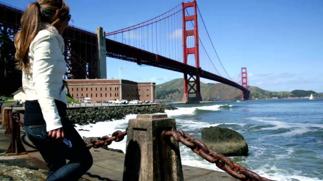 Female Tourist at Golden Gate Bridge video