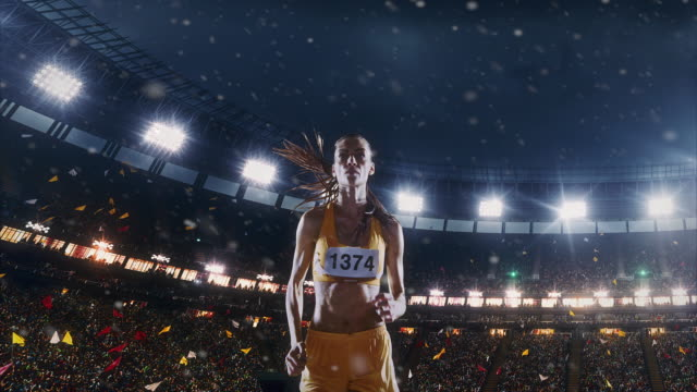 Female track and field runner video