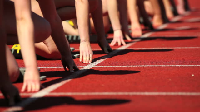 Female Track Runners at Starting Line video
