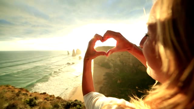 Female traveling loves the Twelve Apostles, Australia video