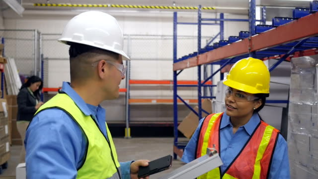 Female warehouse worker talking to manager while working video