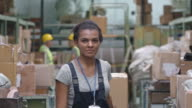 Female Warehouse Worker with Trolley video