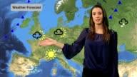Female Weather presenter in studio video