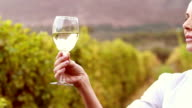 Female winegrower swirling a white wine glass video