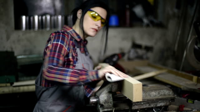 Female woodworking video