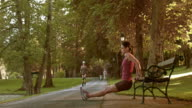 DS Female working out on a park bench video