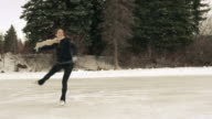 Female young adult skates with freedom and joy. video