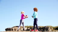 Females Training with a Medicine Ball in the Open Air video