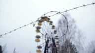 Ferris wheel at abandoned amusement park Pripyat video