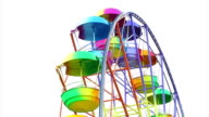 Ferris Wheel of bright color on a white background video