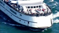 Ferry approaching Oak Bluffs Harbour - Aerial View - Massachusetts,  Bristol County,  United States video