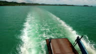 Ferry boat sails from the mainland to the Koh-Chang island, Thailand video
