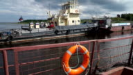 Ferry crossing the river Ob. City Of Salekhard. video