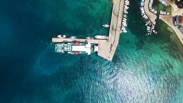 Ferry docked at Olib harbour, Croatia video