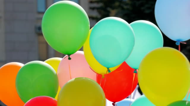 Festive balloons fastened together. video