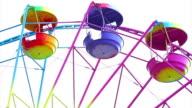 Festive ferris wheel on a white background video