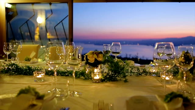 Festive table at sunset. video
