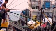 A few fishermen in harbour video