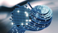 Fiber optics cable signal close-up. video