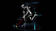 3D field hockey man with technical data video