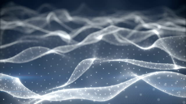 Field of glowing particles oscillating seamless loop video