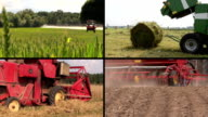 Field spray. Sodder bales. Harvesting. Fertilize soil. Collage video