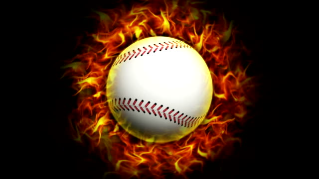Fiery Baseball Ball, with Alpha Channel video