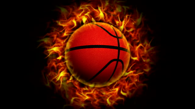 Fiery Basket Ball, with Alpha Channel video