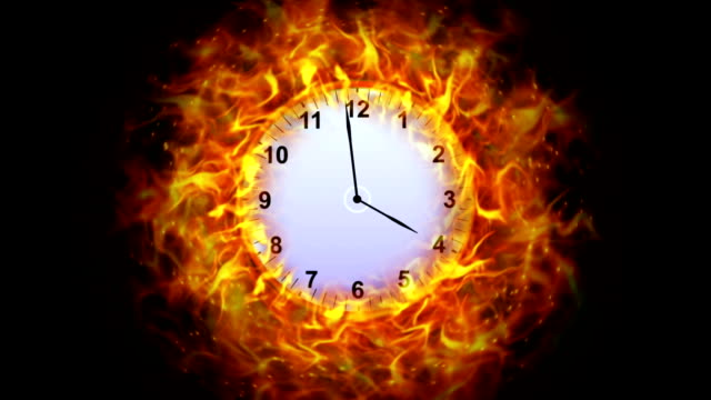 Fiery Clock in Ring Background, with Alpha Channel video