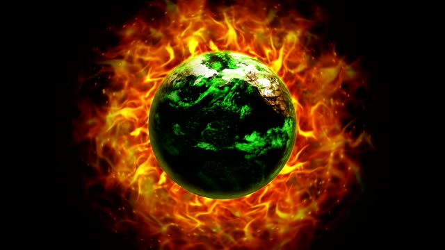 Fiery Destruction Earth in Fires Ring and Flames Background video