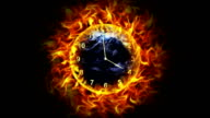 Fiery Earth and Clock with Alpha Channel video