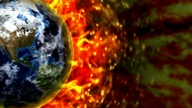 Fiery Earth and Flames Background video