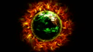 Fiery Earth Destroyed and Flames Background, with Alpha Channel video