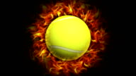 Fiery Tennis Ball, with Alpha Channel video