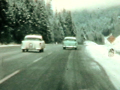 Fifties winter drive-From 1950's film video