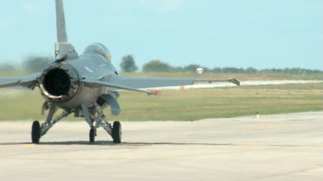 F16 Fighter Airplane Taxi to the Runway from Behind video