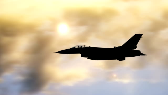 Fighter Jet Flying High Above The Clouds video