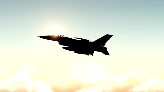 Fighter Plane Flying High Above The Clouds video