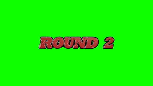 Fighting Video Game Style Round 1 and Continue Text on a Green Screen Background video
