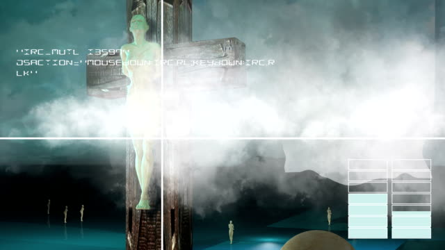 Figure of Crucifixion with clouds and balls video