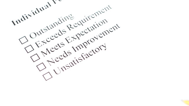 filling performance review form - unsatisfactory is crossed video