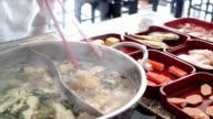 Filling variety meat to hot pot shabu video