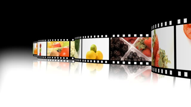 Film reel of fruits and veg video