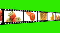 Film reel with fruits and veg green screen video