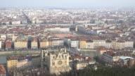 Film Tilt Aerial Lyon Cityscape Rhone River Notre Dame Fourviere video