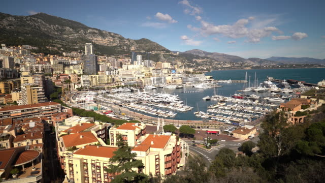 Film Tilt shot Aerial Monaco Monte Carlo harbour french riviera video