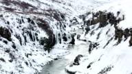HD Film Tilt: Winter landscape, river and cliff at northern Iceland video